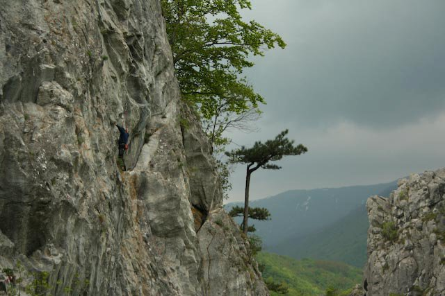Climber in Catargul extension - 7a